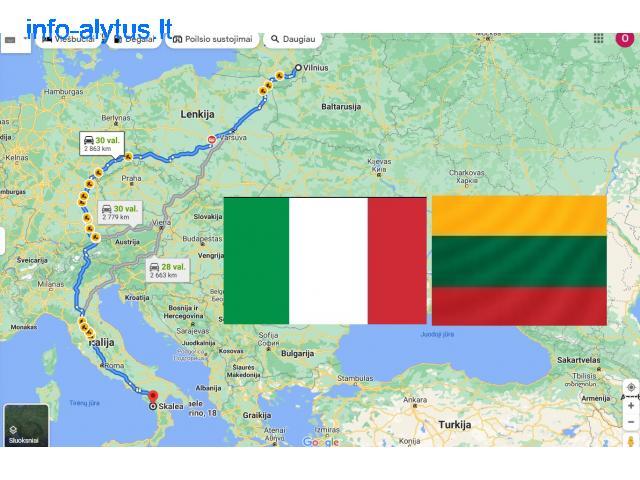 Pervežimas -- Daiktų -- Moto - Krovinių pervežimas -- PERKRAUSTYMAS -- Italija -- Lietuva