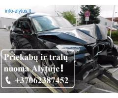 Traliuko nuoma Išnuomojamas traliukas-priekaba vienam automobiliui vežti +37062387452